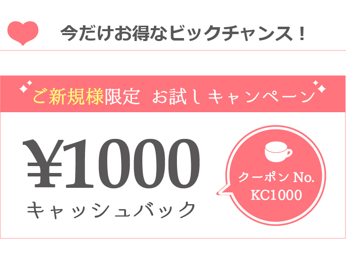 ご新規様限定クーポン 1000円キャッシュバック クーポンNO. KC1000とご入力いただきご予約下さい。