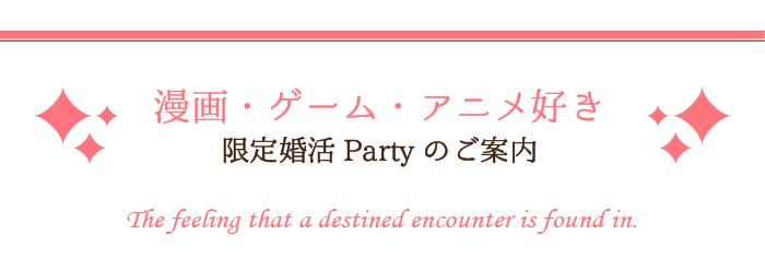 マンガ・ゲーム・アニメ好き限定の婚活パーティーのご案内です。