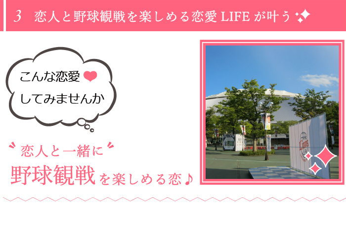 埼玉西武ライオンズファン同士の恋はとても楽しい!休日は、二人で野球観戦で汗を流しましょう!